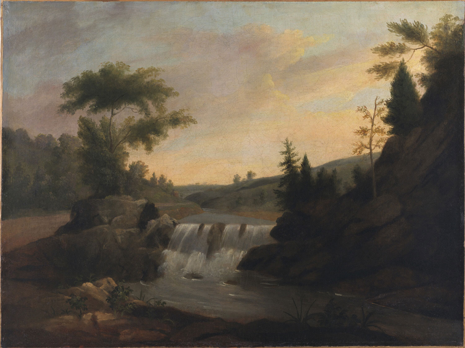 View on the Wissahickon with Waterfall