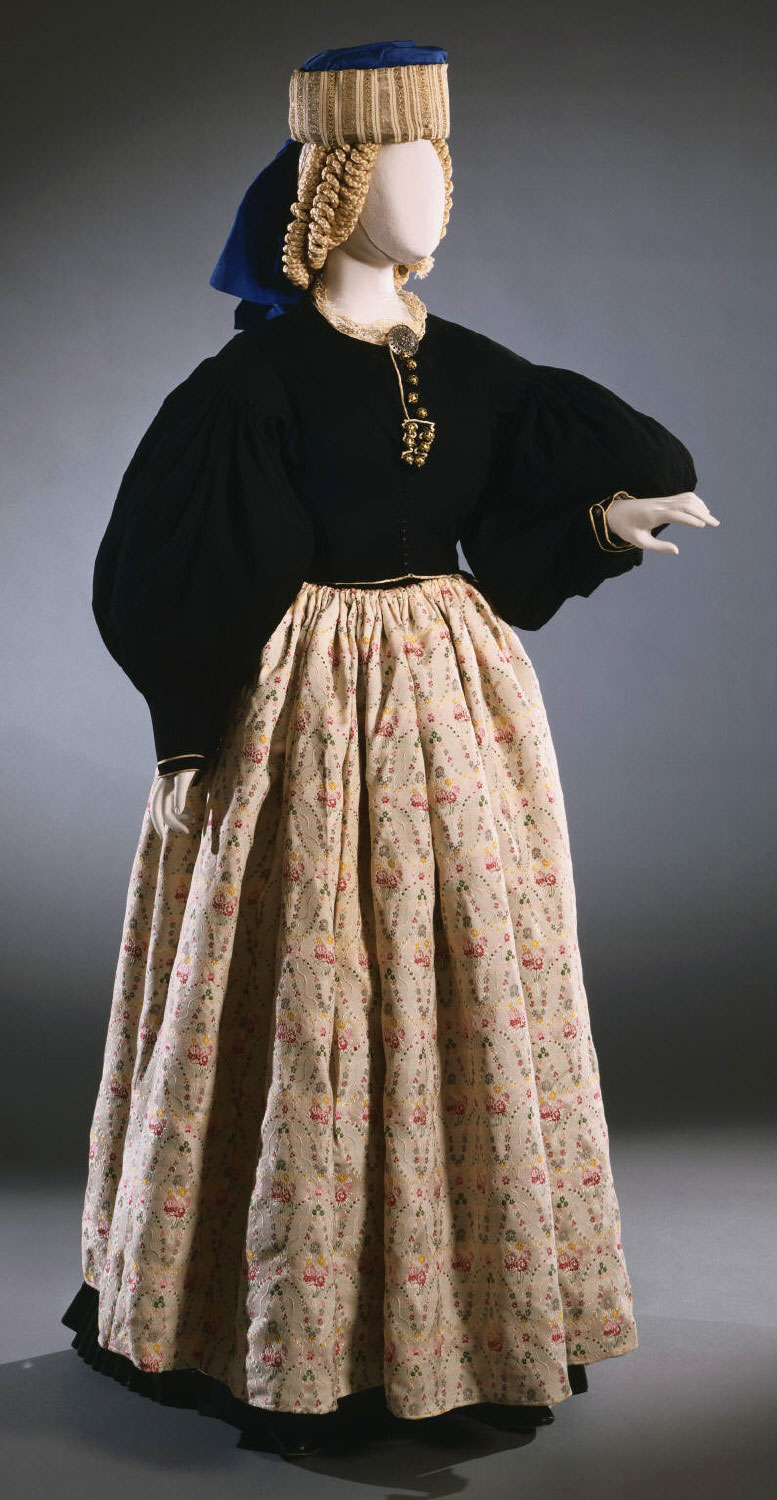 Bridal and Gala Ensemble for a Woman from Scanno, Abruzzi, Italy: Jacket, Skirt, Apron, Hat, and Headgear.