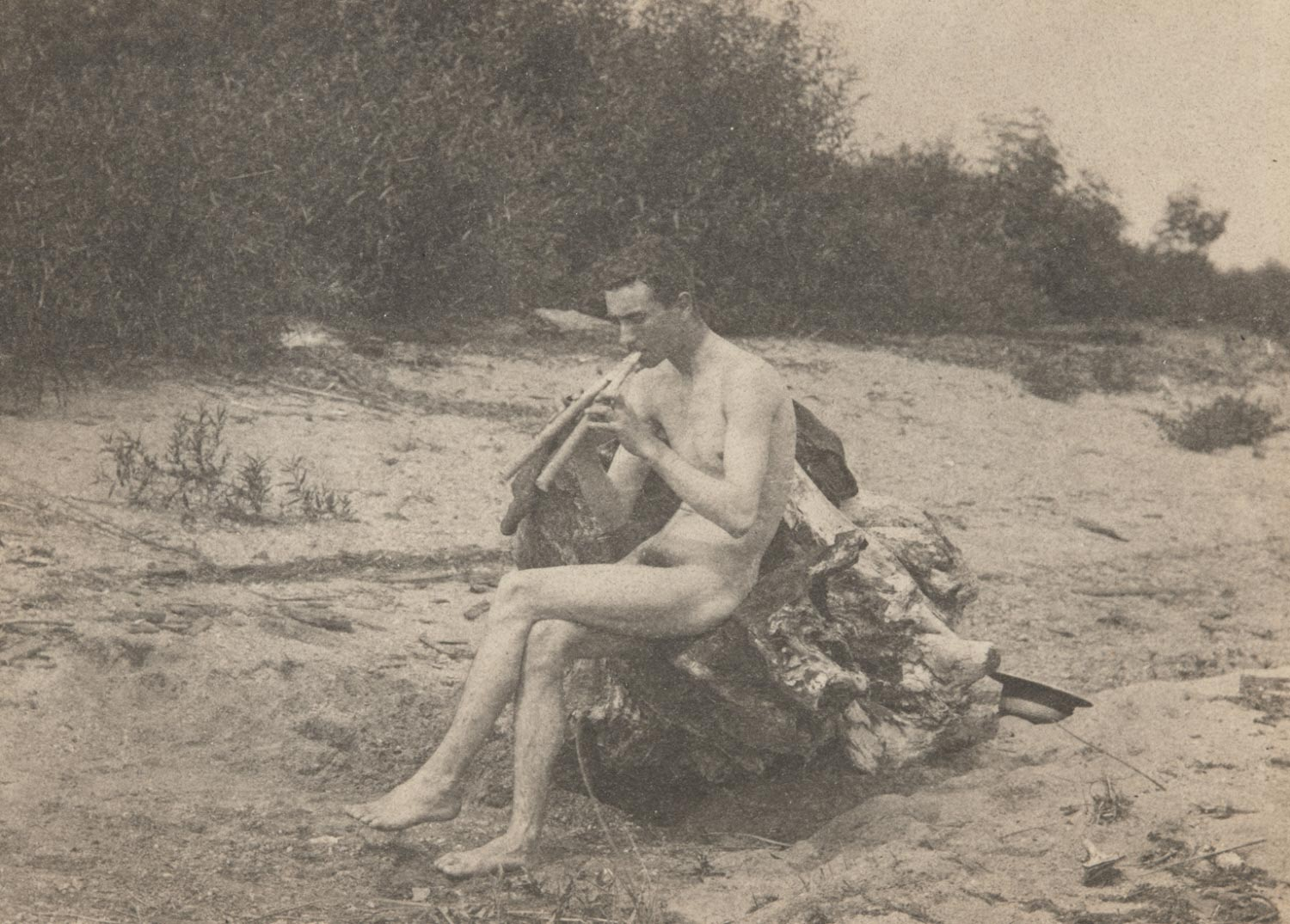John Laurie Wallace, Nude, Playing Pipes