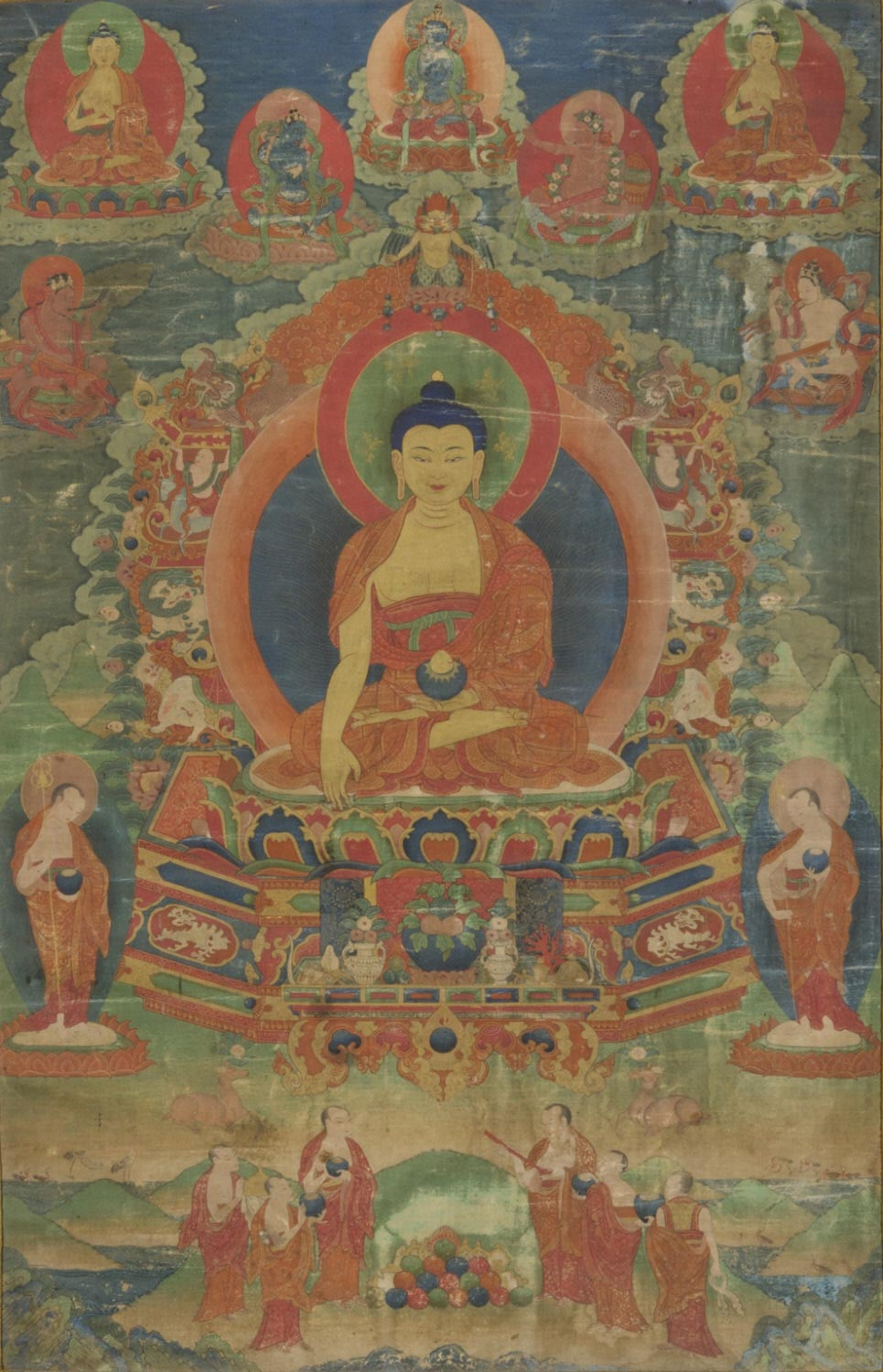 Buddhas of the Past, Present, and Future with Mahasiddhas and Monks
