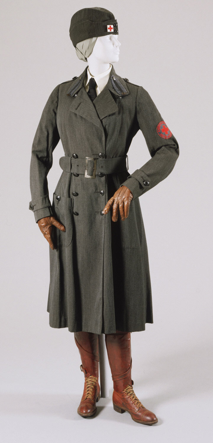 Woman's First World War American Red Cross Motor Services Uniform: Coat, Breeches, Coat Belt, Belt and Cap with Pin