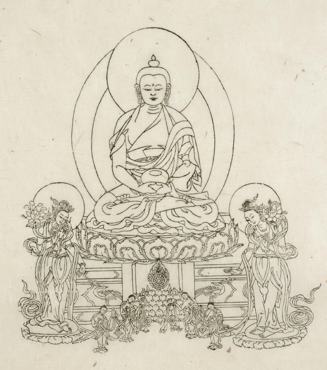 Amitabha flanked by Attendants
