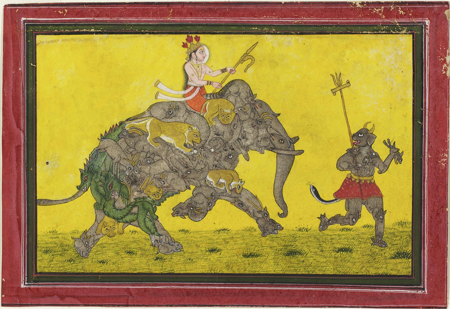 Divine Rider on a Composite Elephant Preceded by a Demon