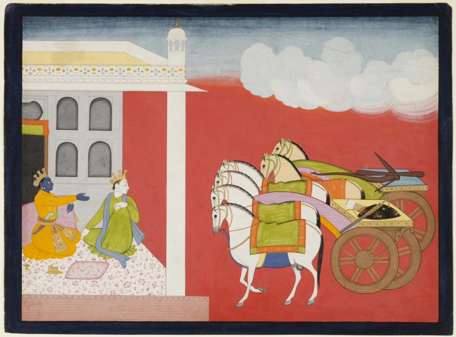 Krishna Points Out to Balarama the Descent from the Sky of Two Chariots Carrying Celestial Weapons