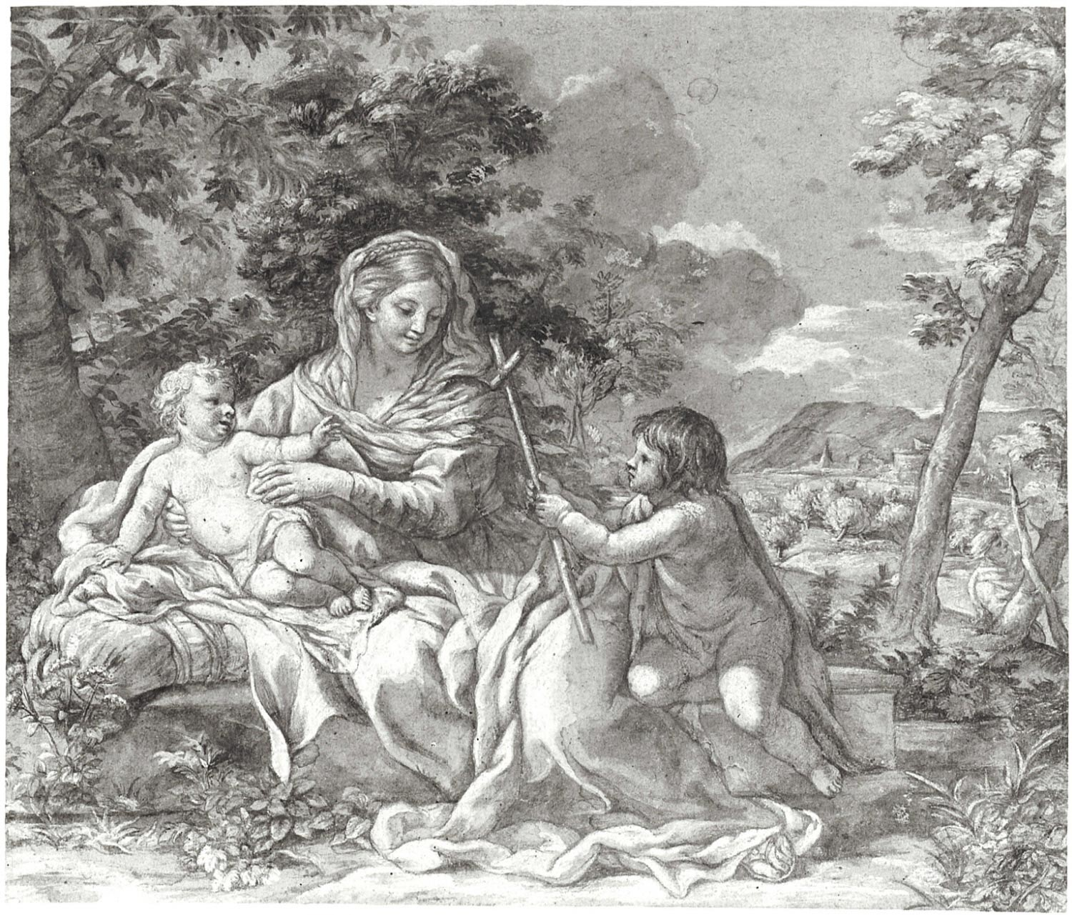 The Virgin and Child Seated in a Landscape, with the Infant St. John the Baptist