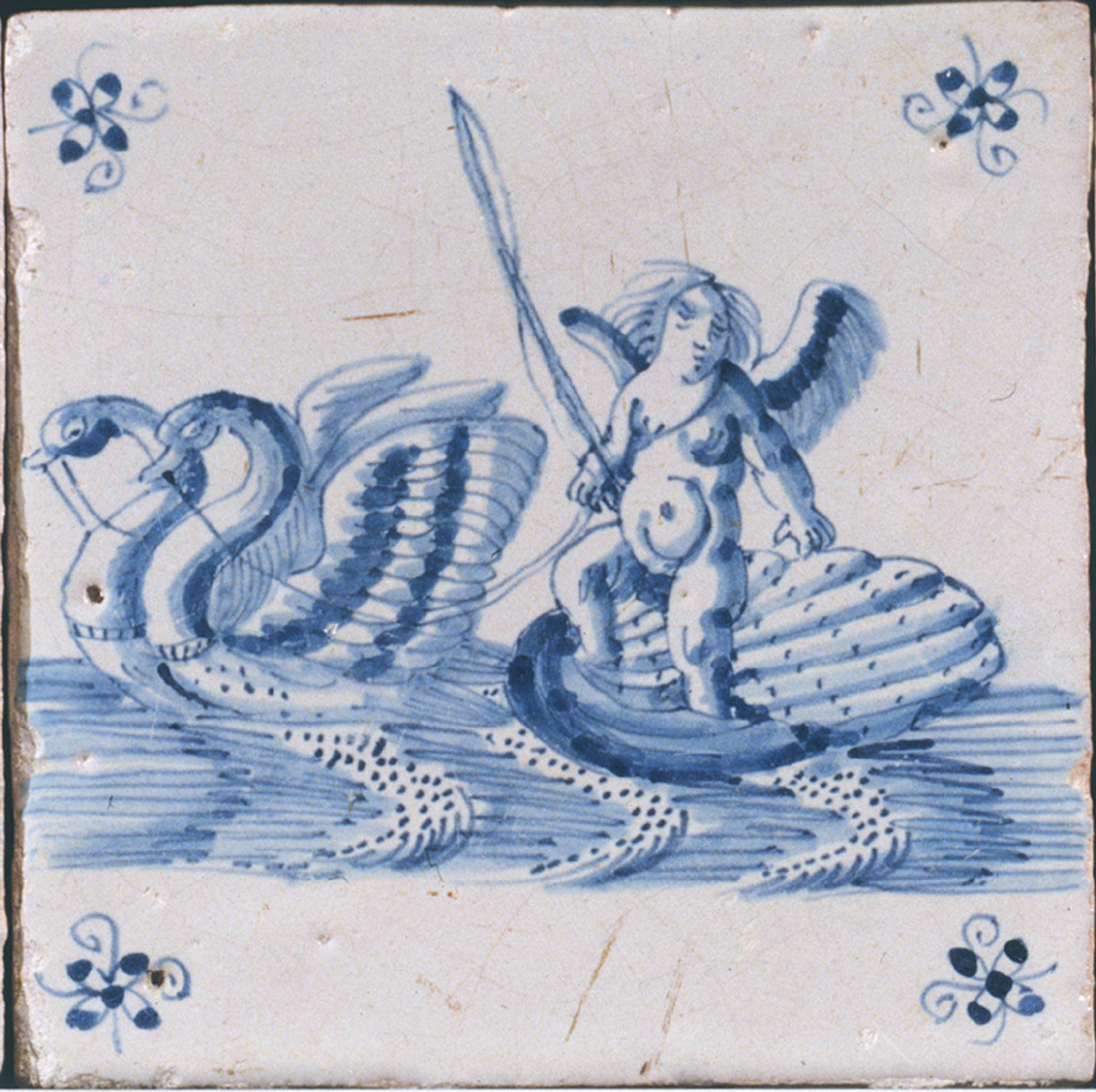 Tile: Cupid Riding a Swan Chariot