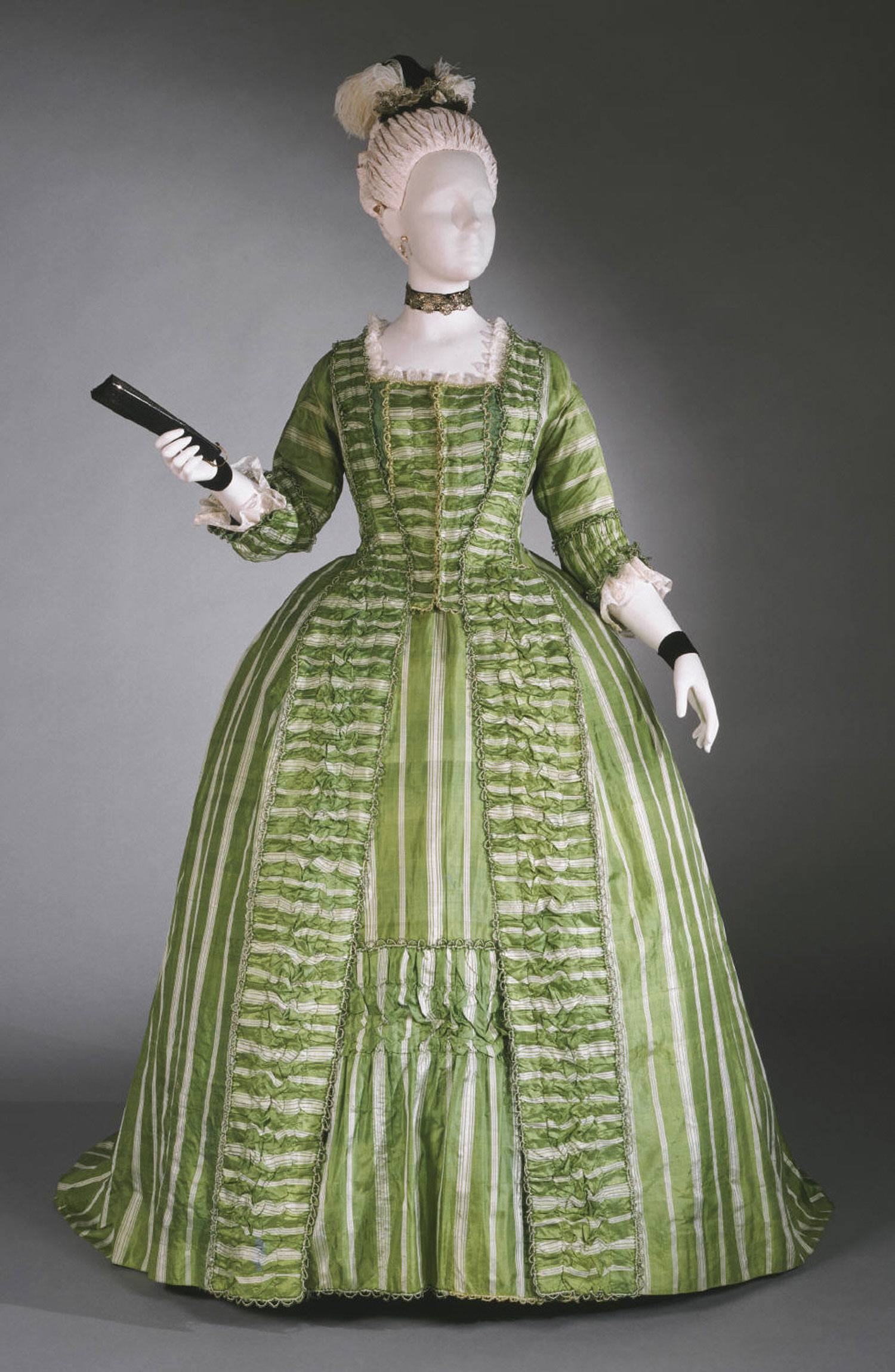 Woman's Dress (Robe à la française) with Attached Stomacher and Matching Petticoat