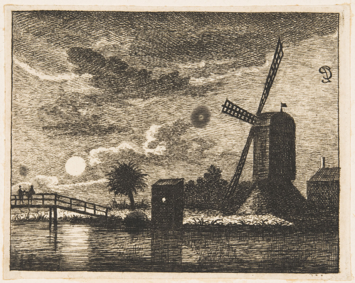 Landscape by Moonlight with Windmill