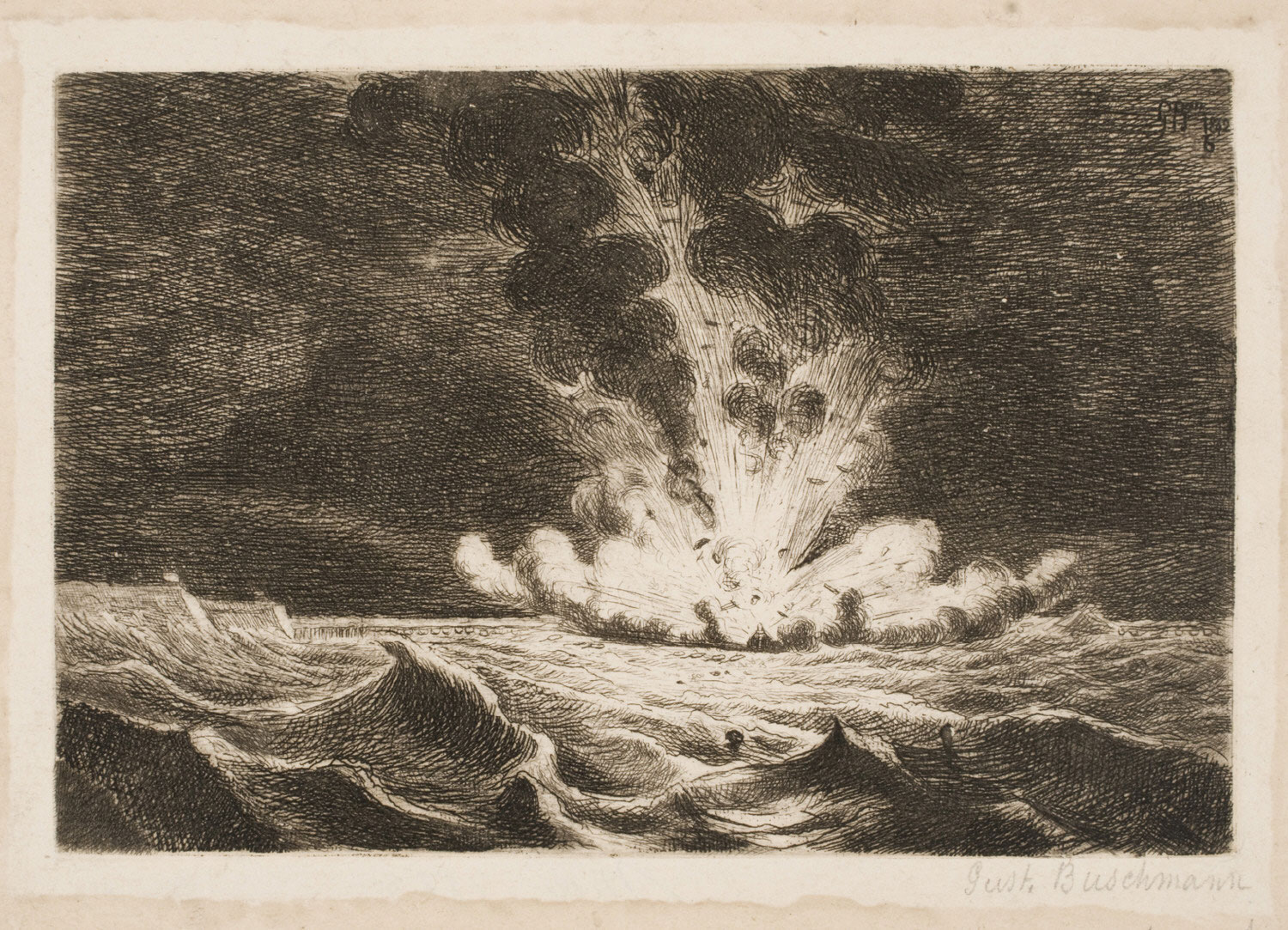 Explosion on a Boat, Destroying the Duke of Parma Bridge at Antwerp
