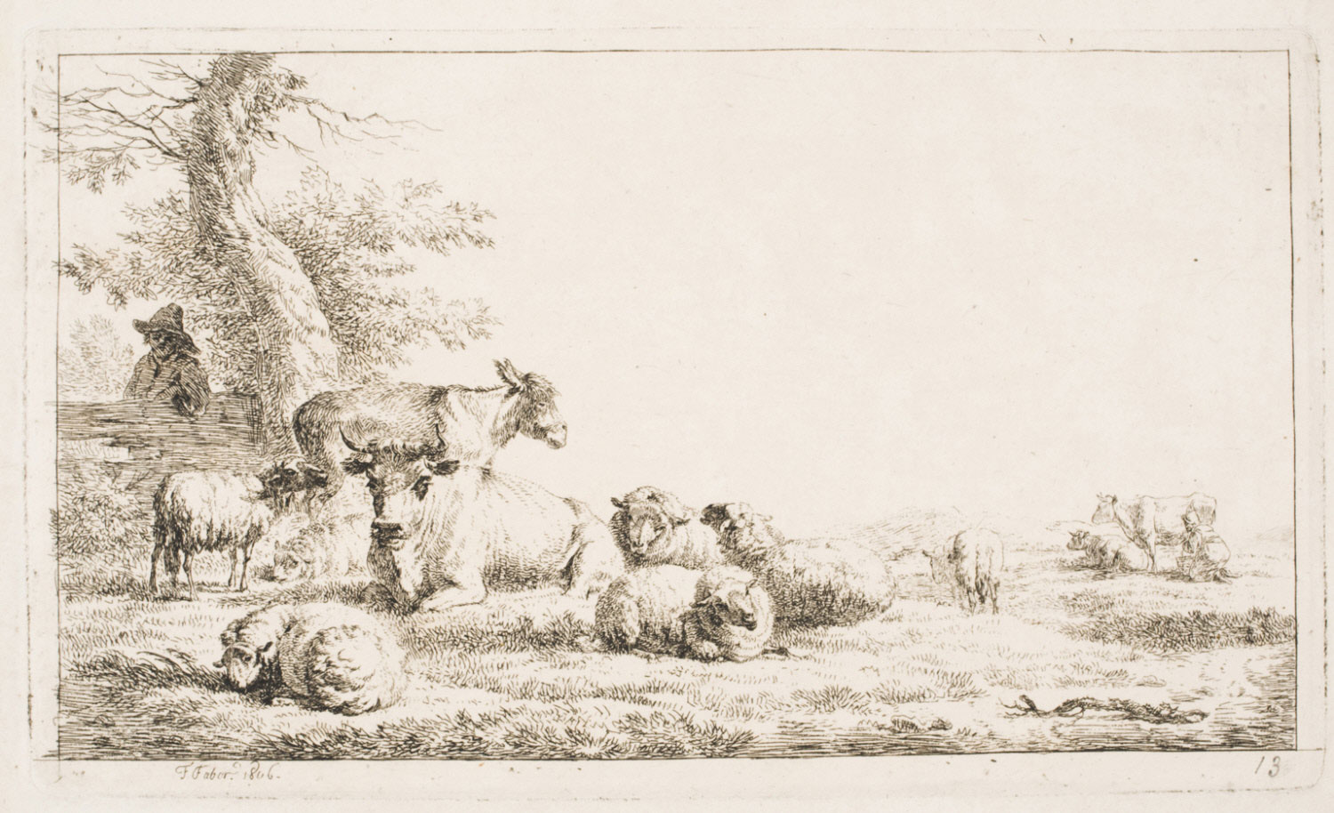 A Farmer and a Milkmaid with a Donkey, Sheep and Cows