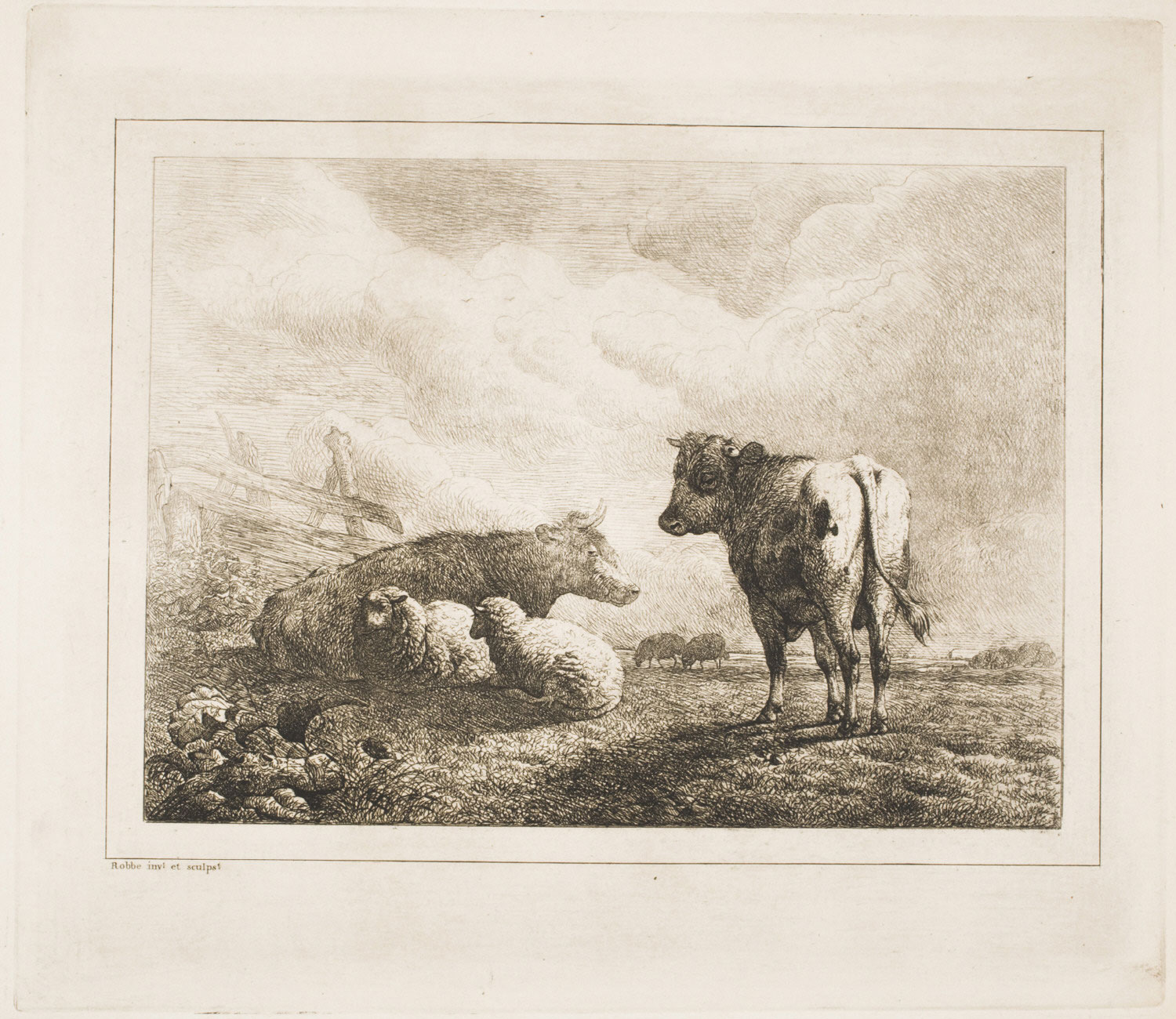 A Cow, Four Sheep, and a Bull