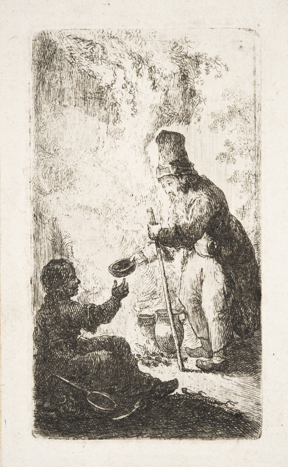 A Beggar and a Girl Cooking over a Fire