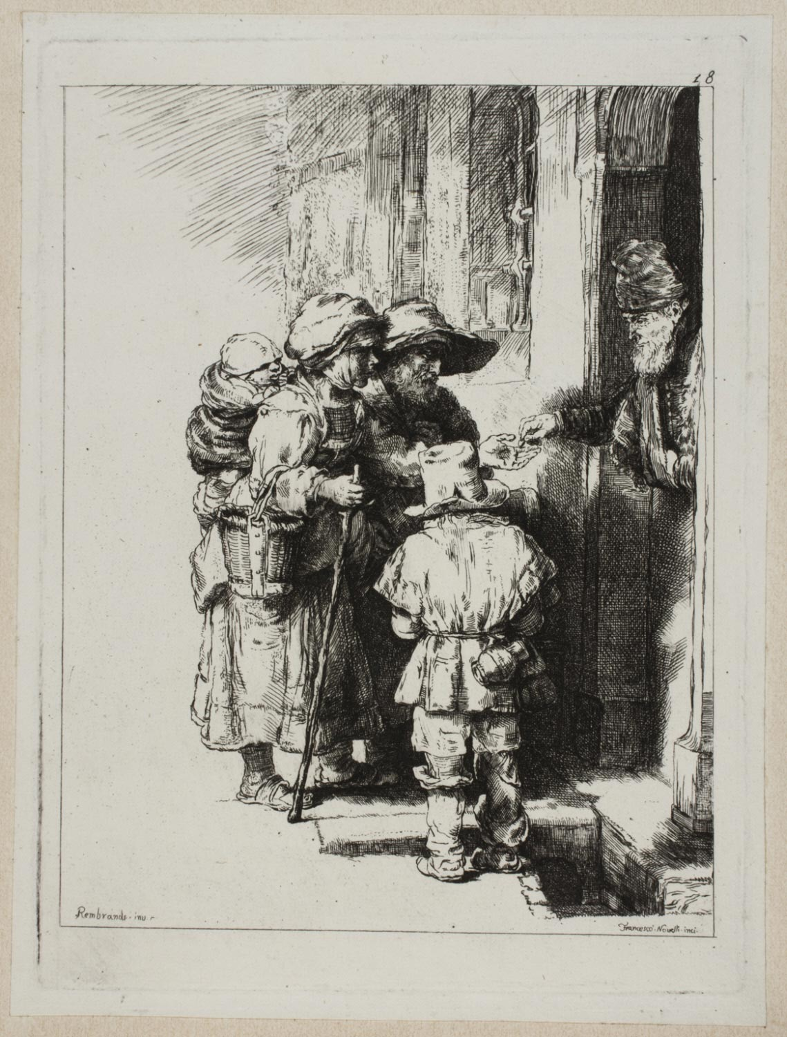 A Blind Hurdy-Gurdy Player and Family Receiving Alms