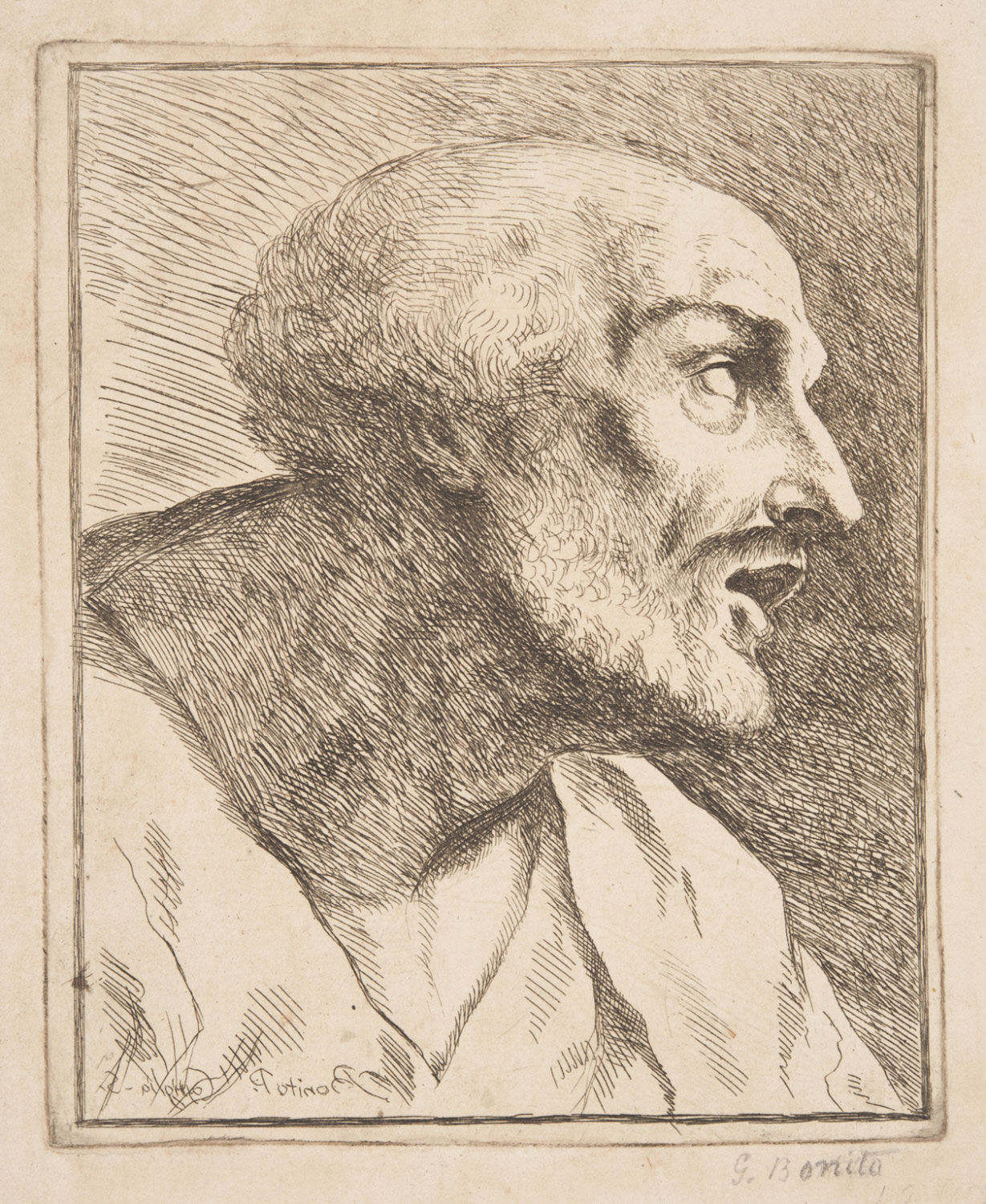 Bust of a Man with an Open Mouth