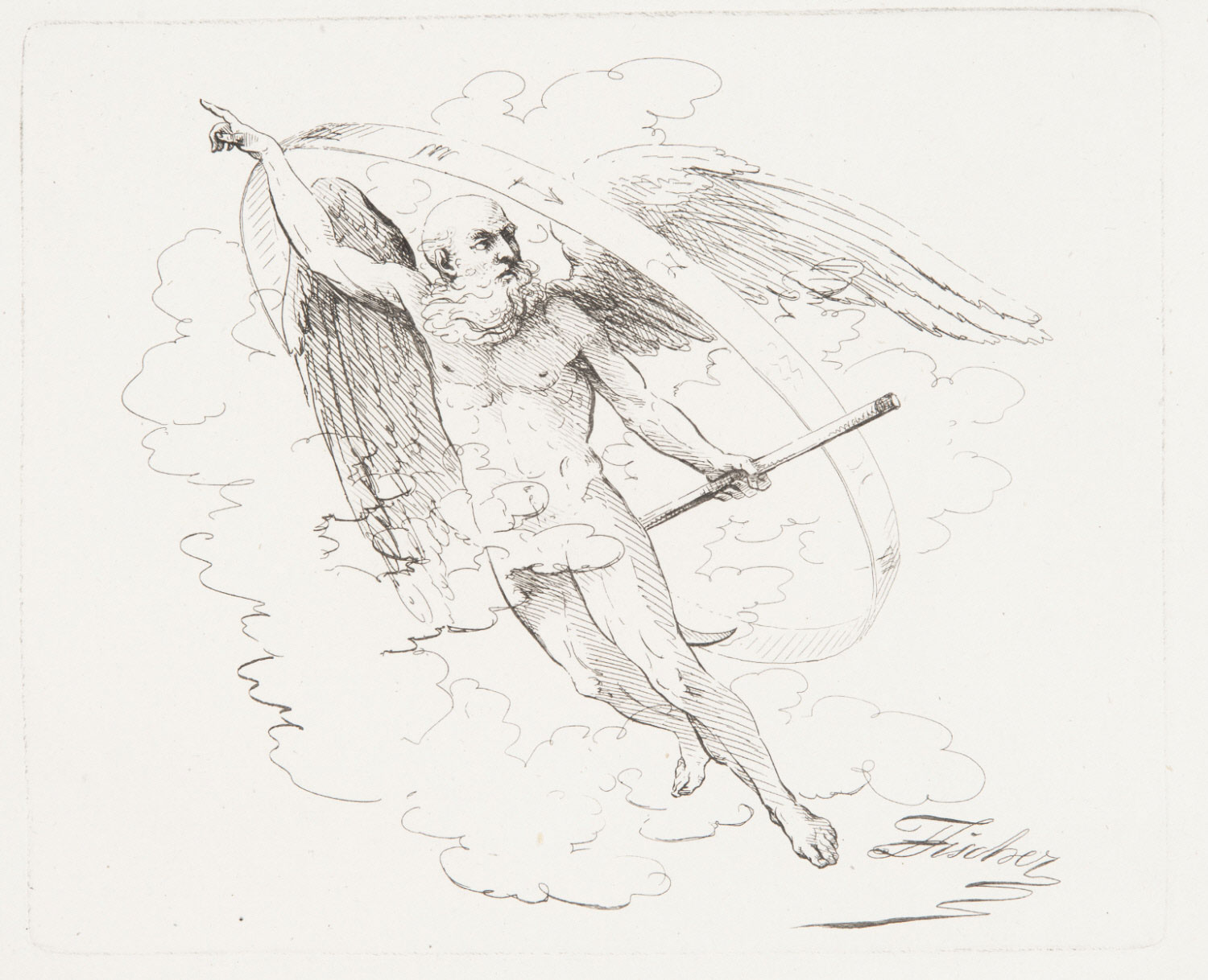 Allegorical Winged Figure of Time with the Zodiac