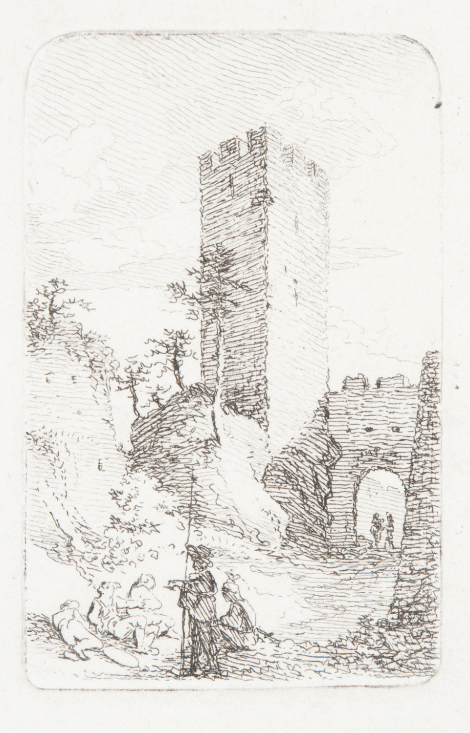 Figures by a Square Tower