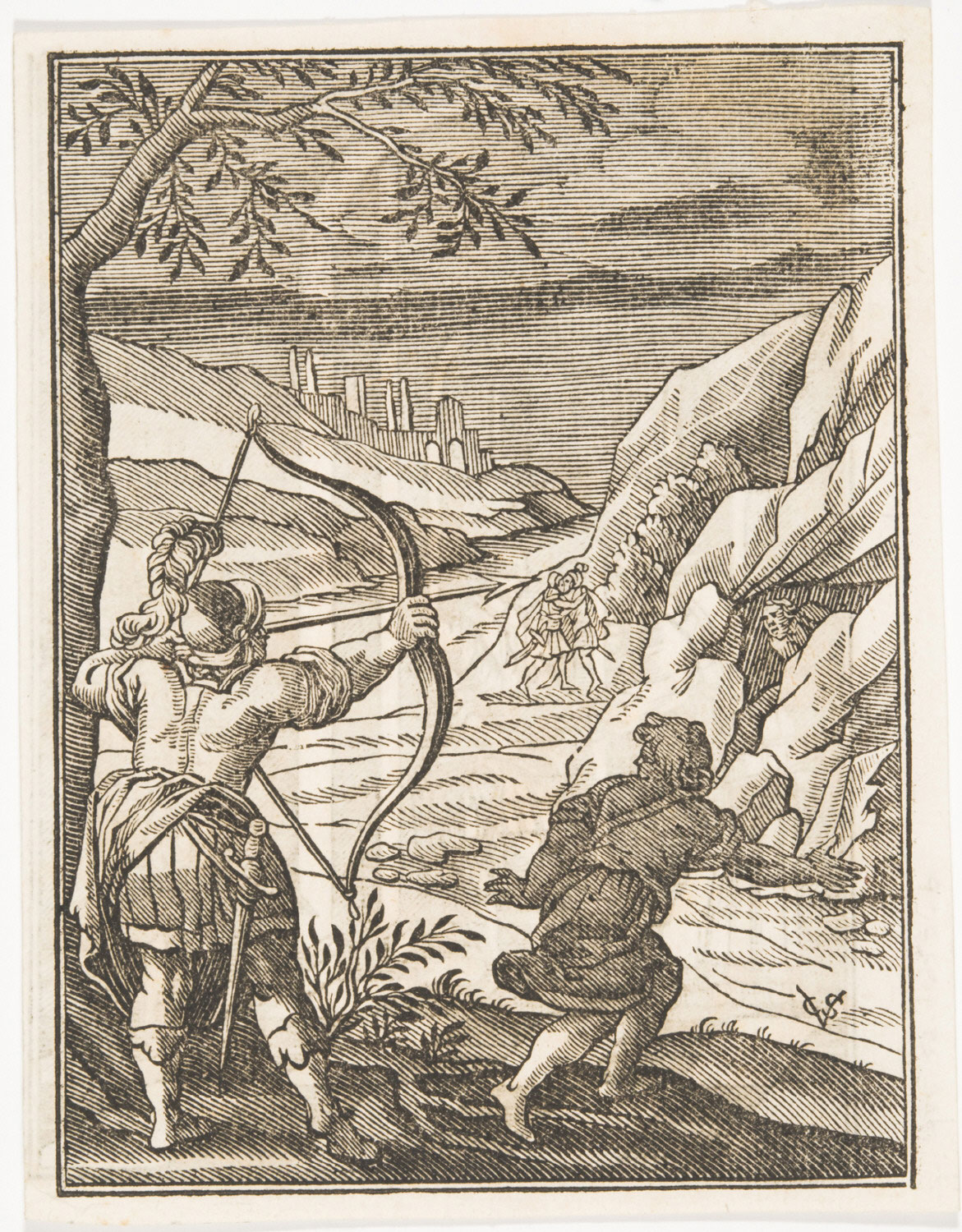 Biblical Scene with Archer Shooting across a River