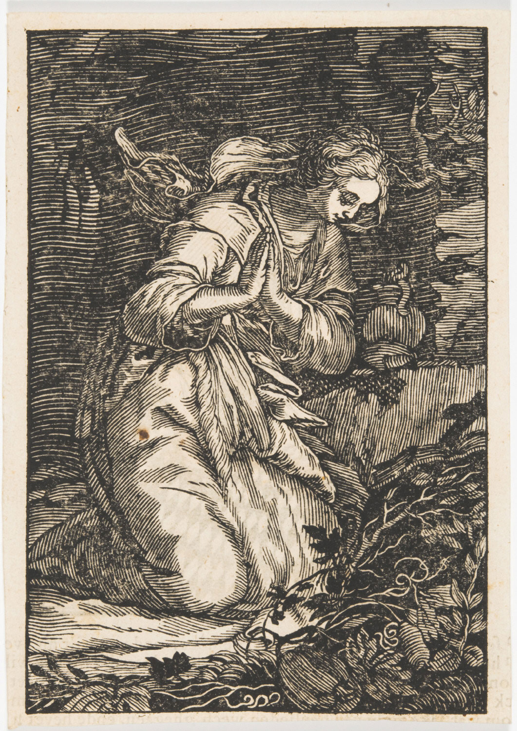 Biblical Scene with Woman Praying in the Wilderness