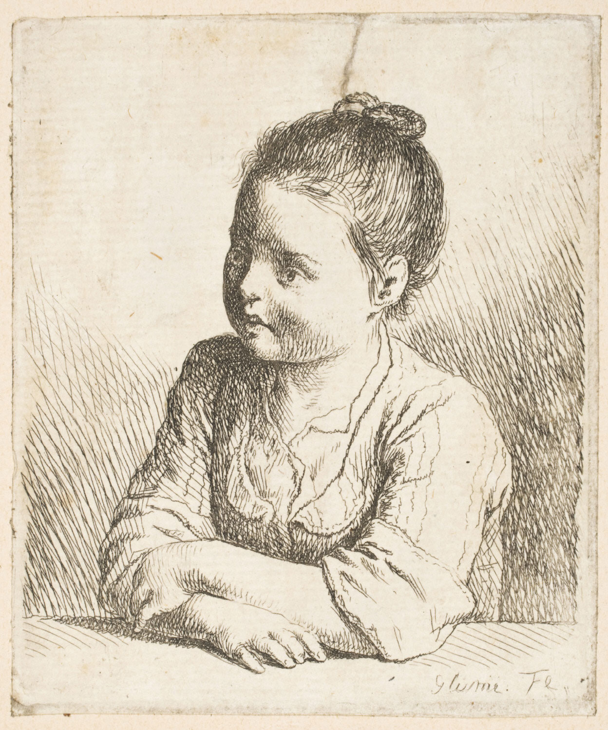 Girl Leaning on a Table, Seen from the Front