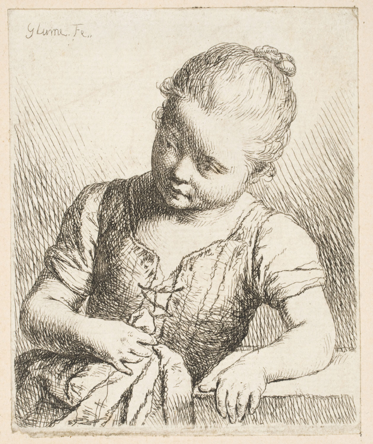 Girl Leaning on a Table, Cloth in Hand