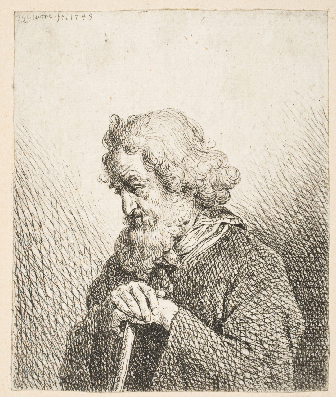 Bearded Man Leaning on Cane