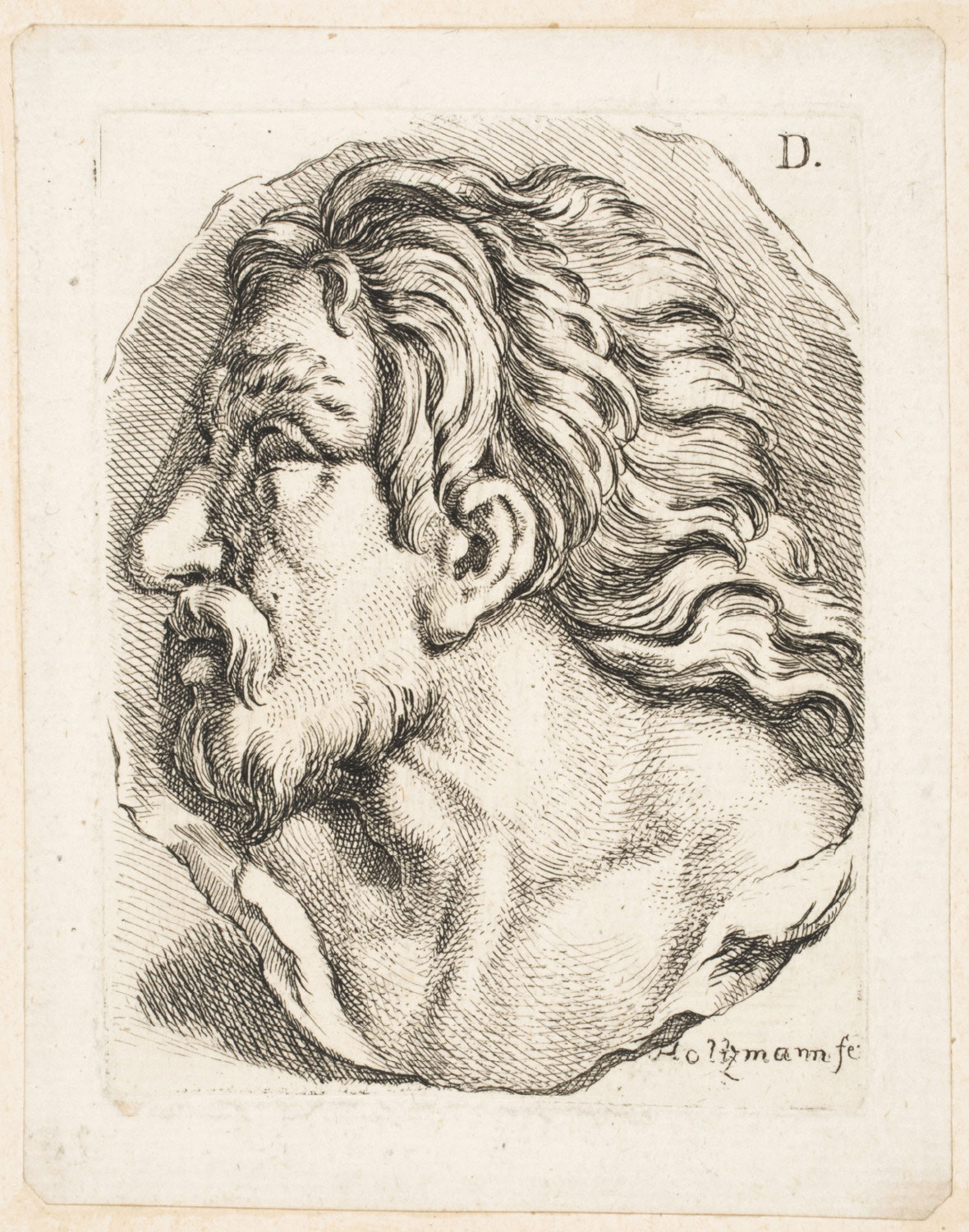 Bearded Man with Hair Blowing Back