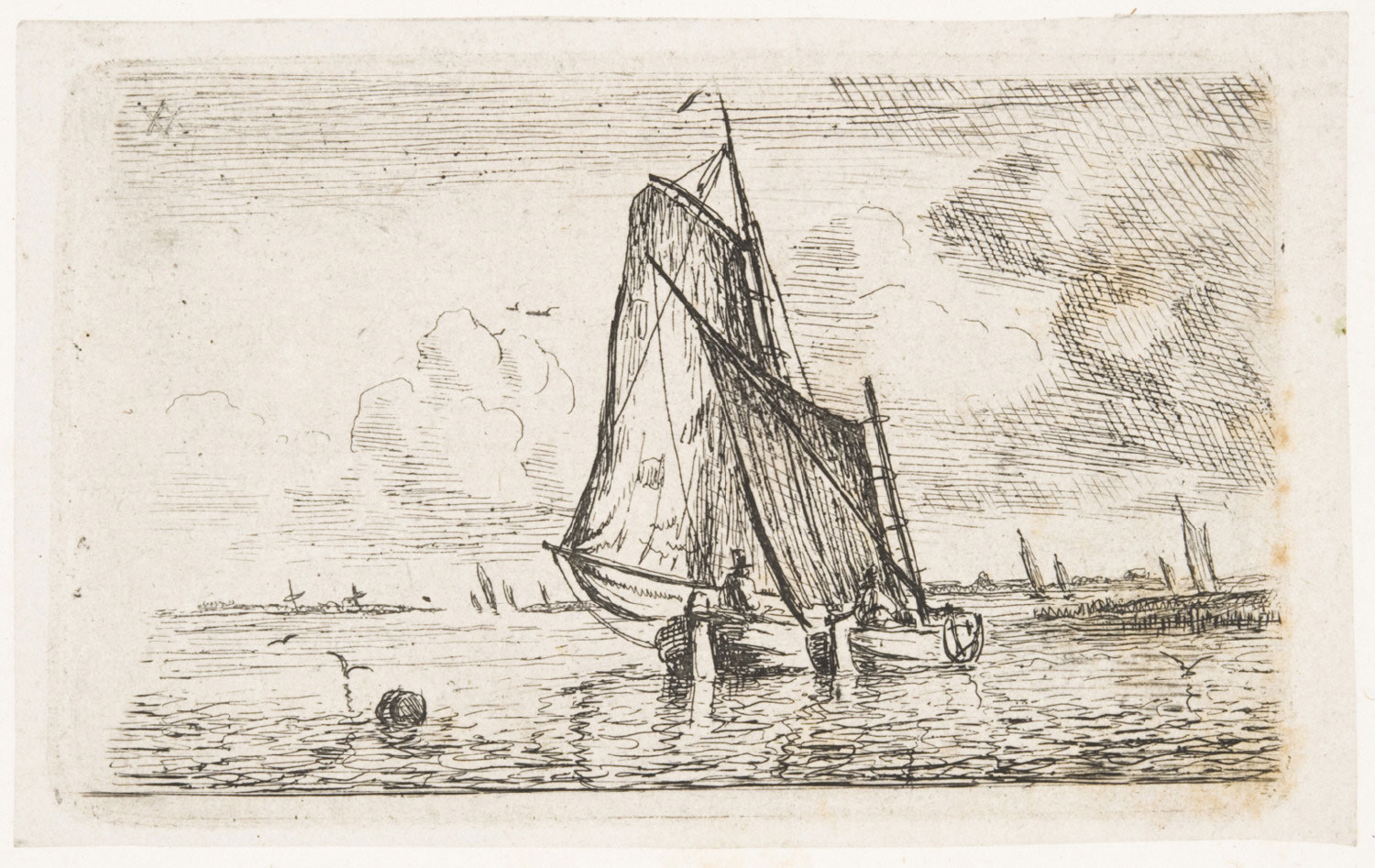 View of the Elbe with Two Sailboats