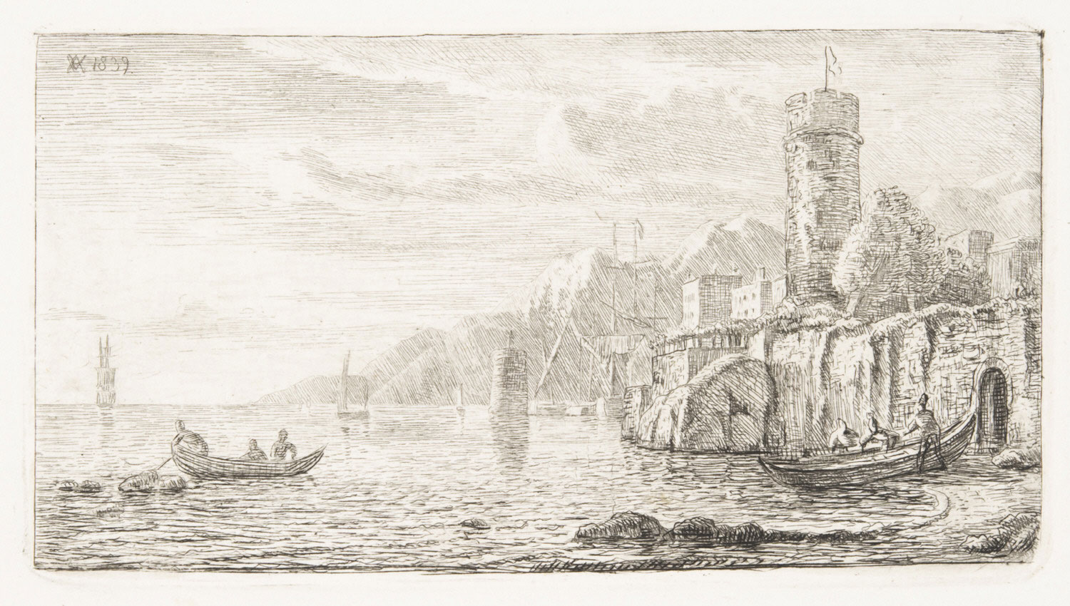 Rocky Coast with a Round Tower