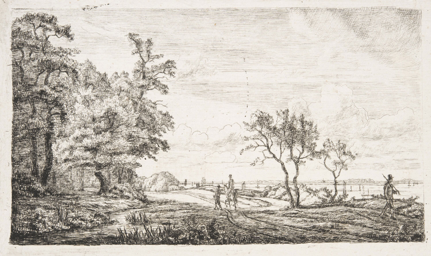 Elbe Landscape with Forest at Left