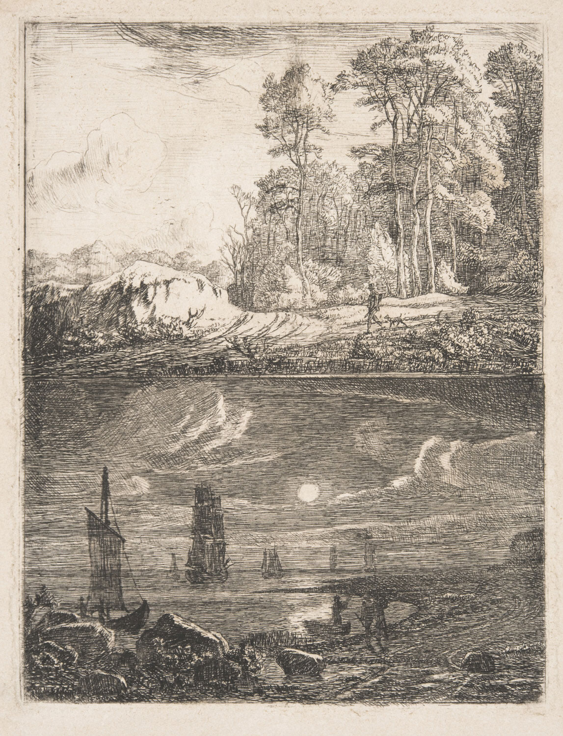 Hunter at the Edge of a Forest / Coastal Scene in Moonlight