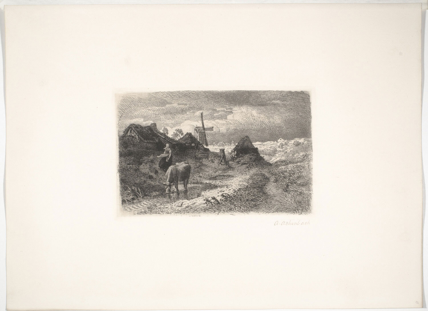 Landscape with Cow, Woman, and Windmill