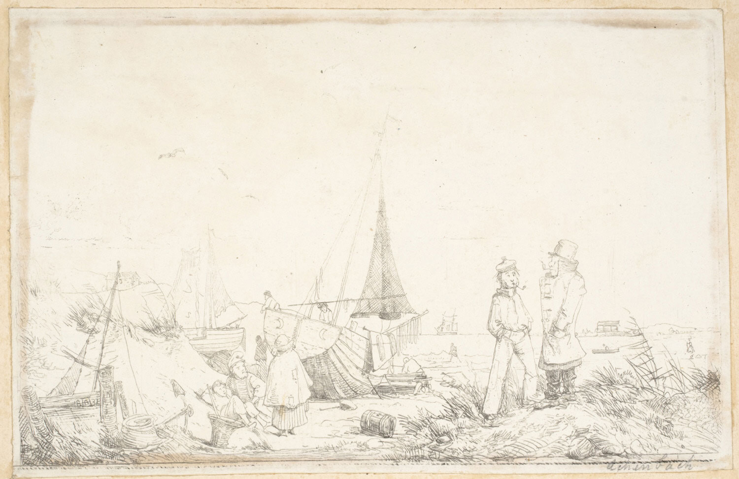 Beach with Sailors and Fishermen