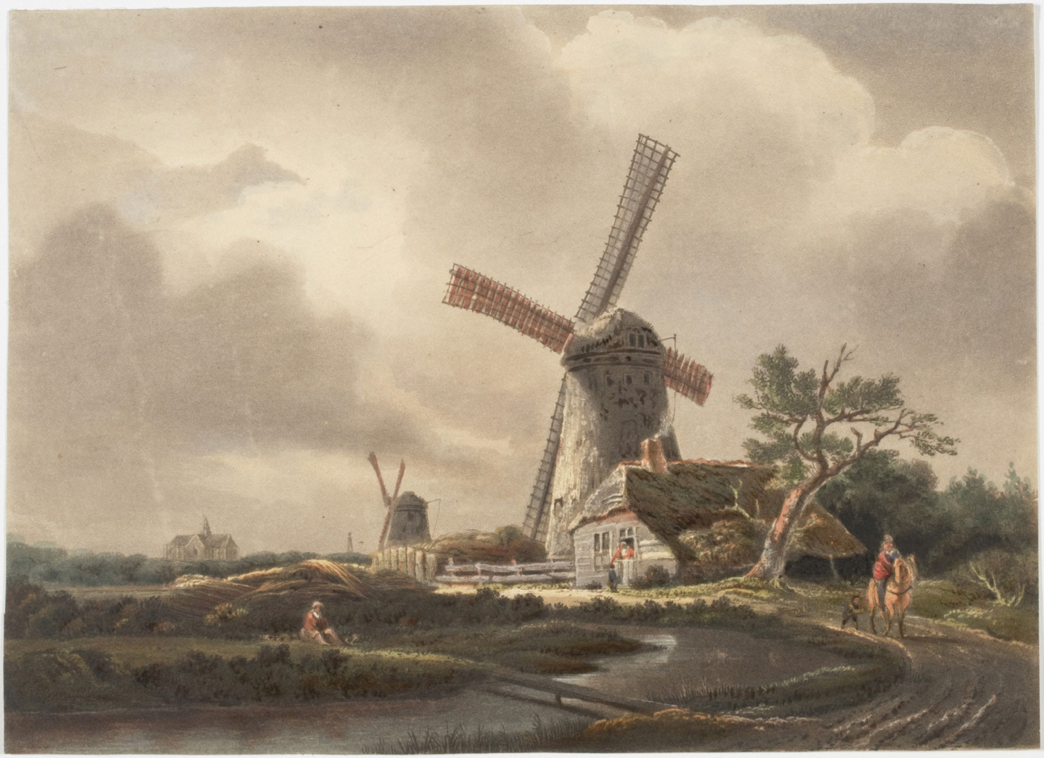 Landscape with Windmills and River