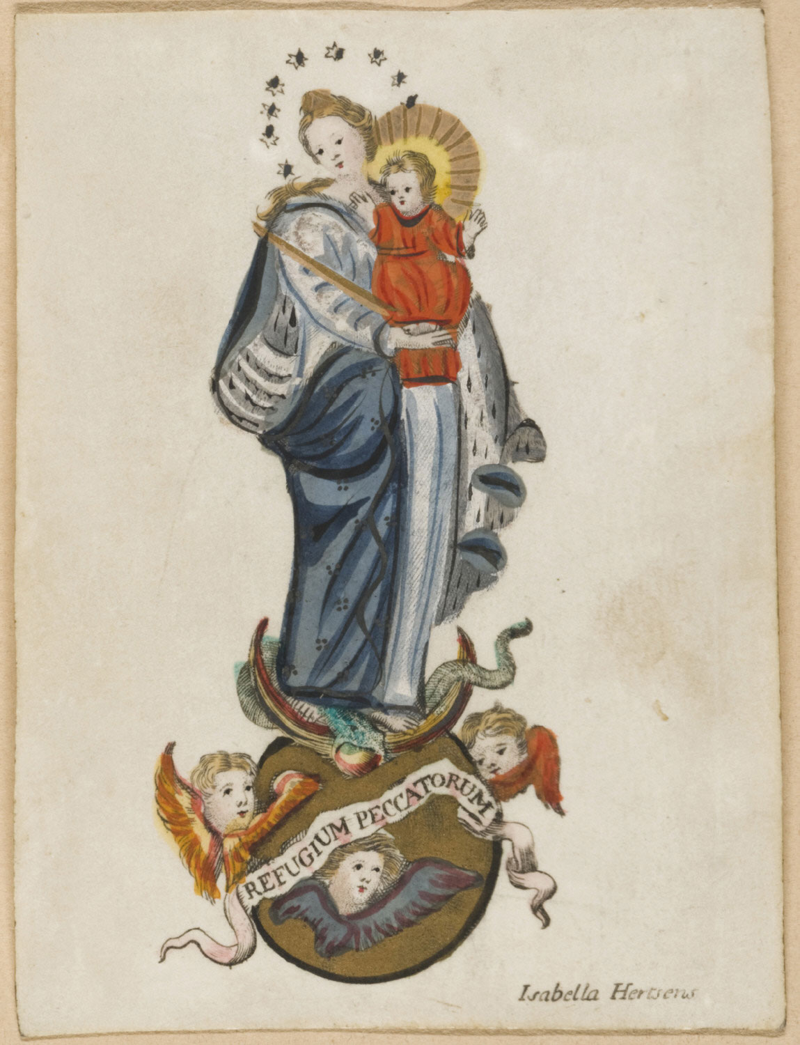 Holy Card with Madonna and Child