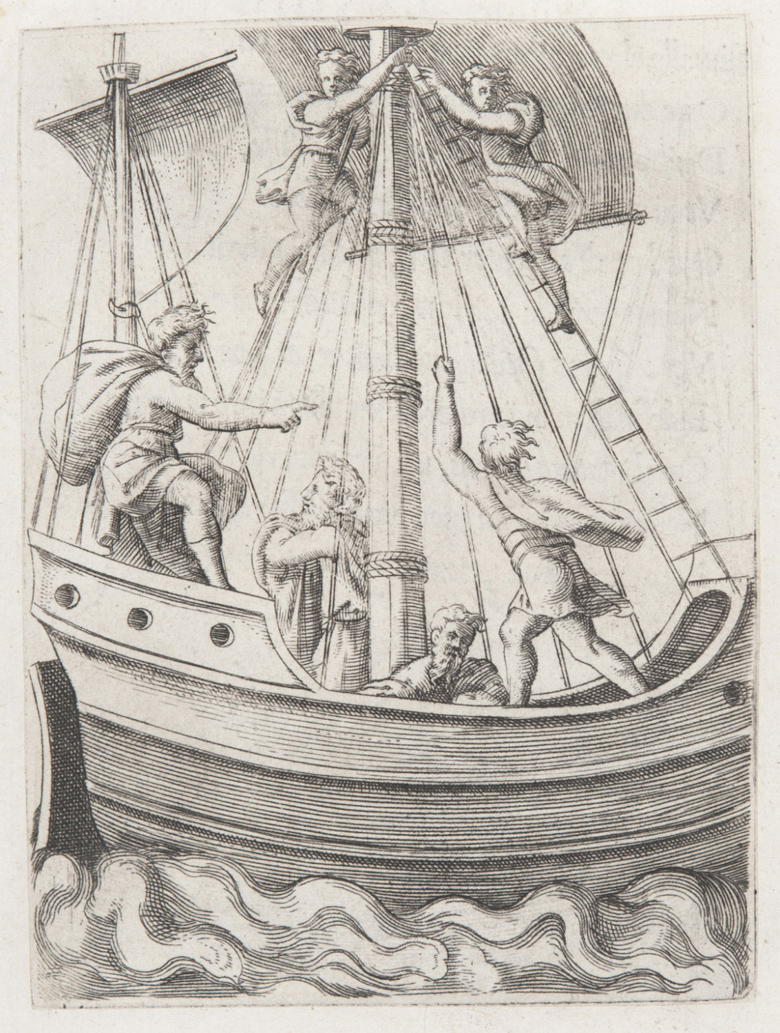 A Ship with an Old Man at the Helm