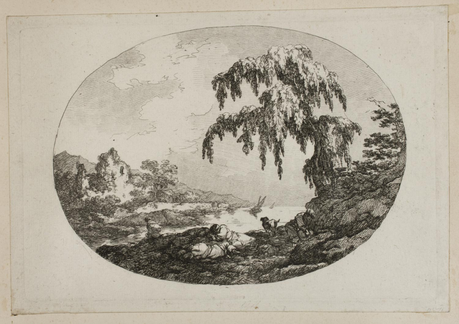 Landscape in Oval with Travelers Sleeping