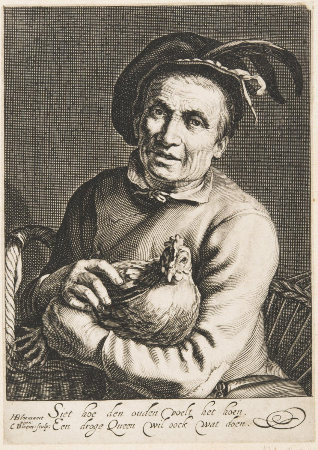 A Peasant with a Fowl in His Arms