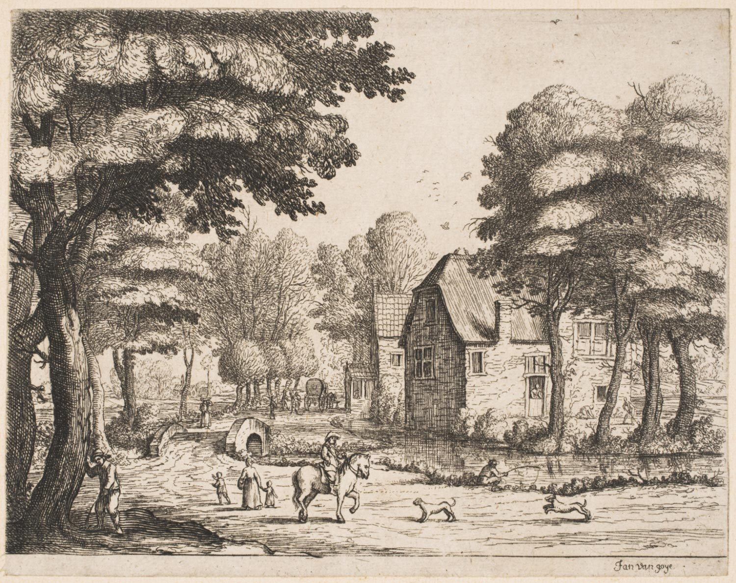 Landscape with a Stone BridgeView of a Village with Horseman and Two Dogs