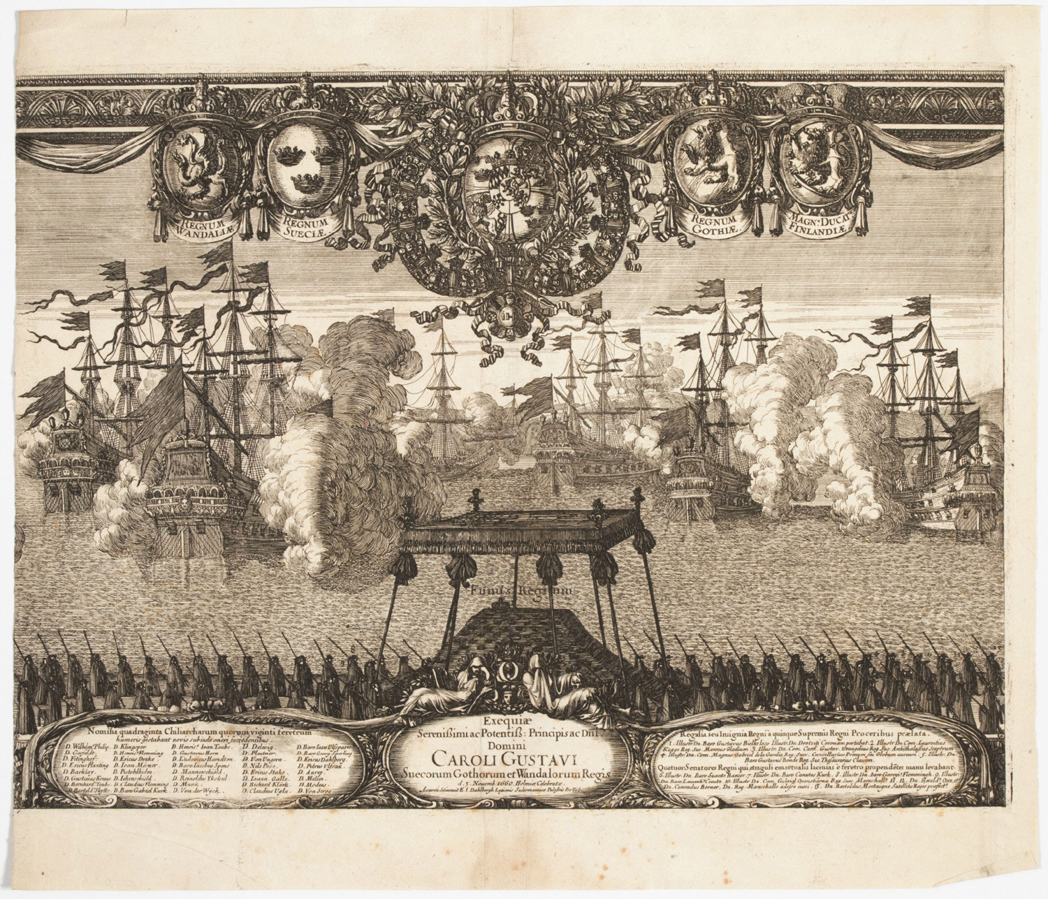 Central Section with the Funeral in the Funeral Procession of King Carl X Gustav of Sweden, Held in Stockholm on November 3, 1660