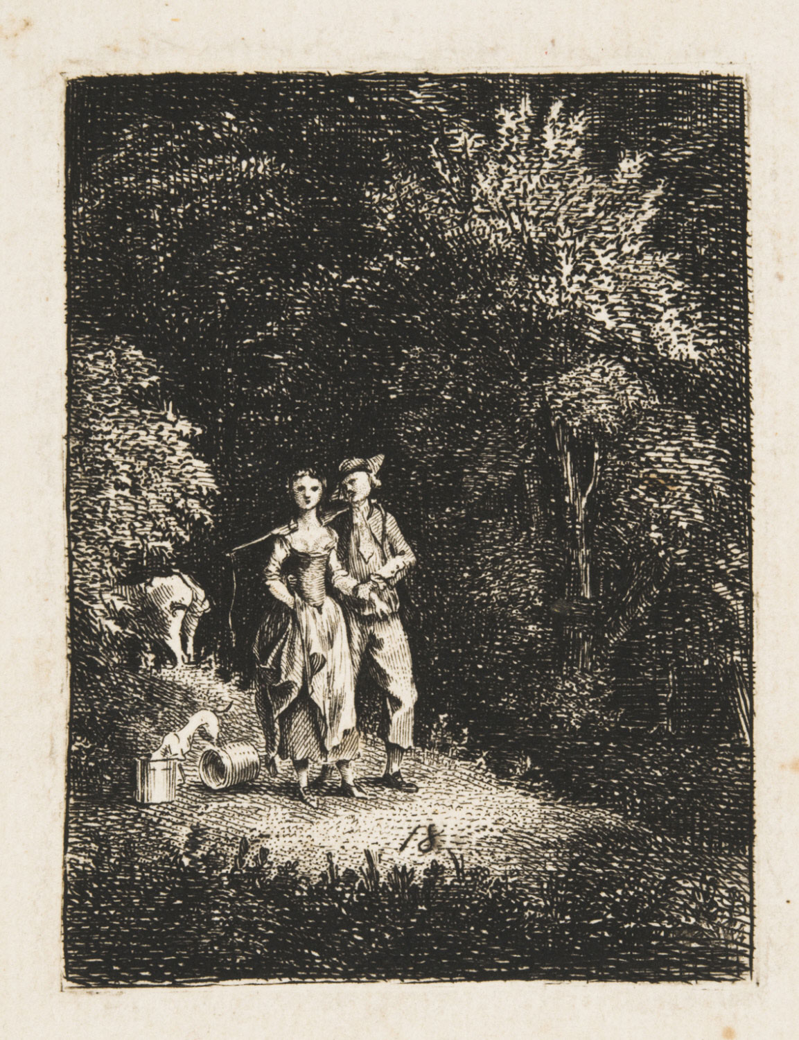 A Milkmaid and Her Swain Walking along a Woodland Path