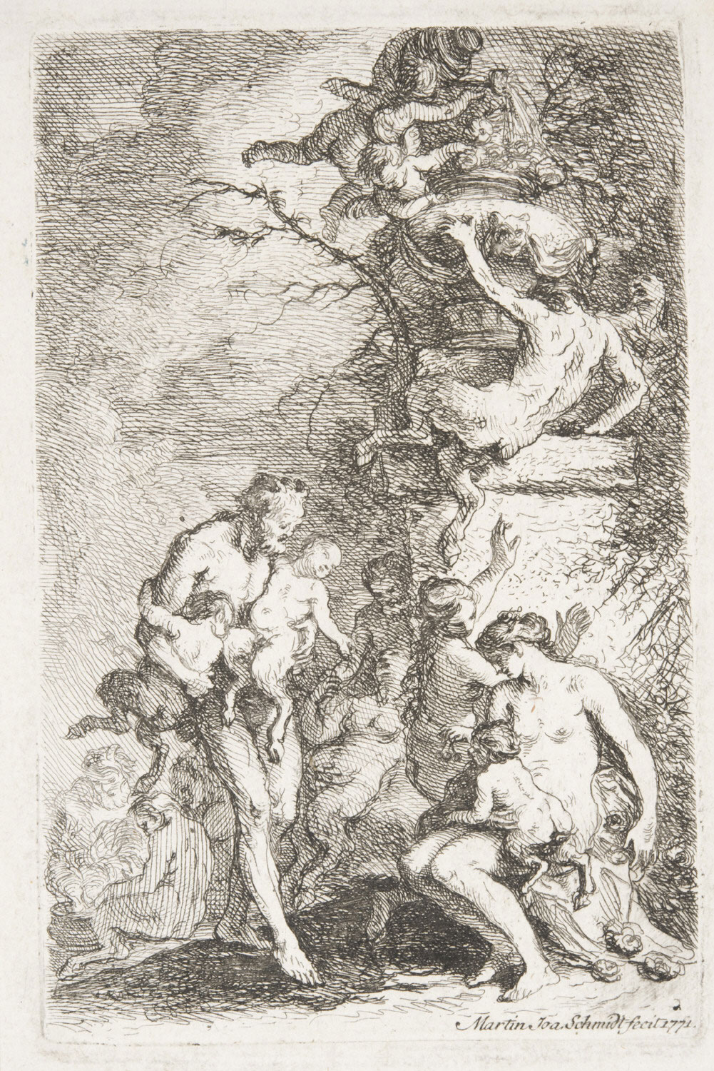 A Faun with Two Satyr Children and a Bacchante