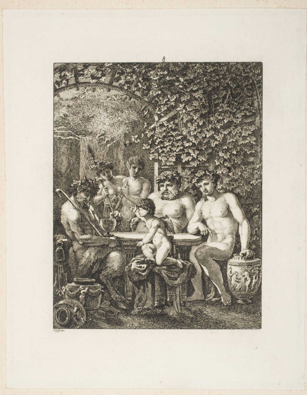 Bacchus and His Followers in a Grape Arbor