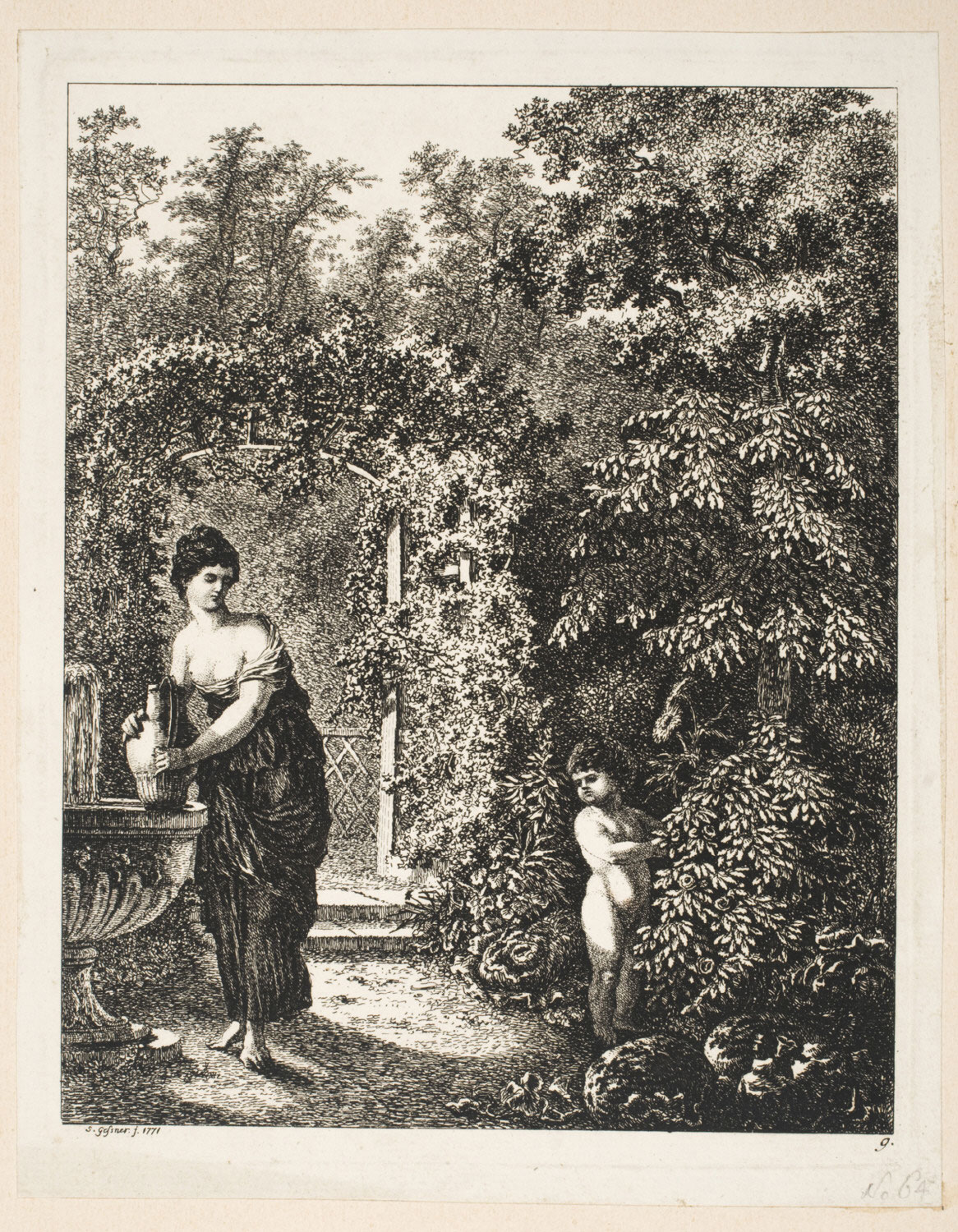 Cupid Visiting a Girl in a Garden
