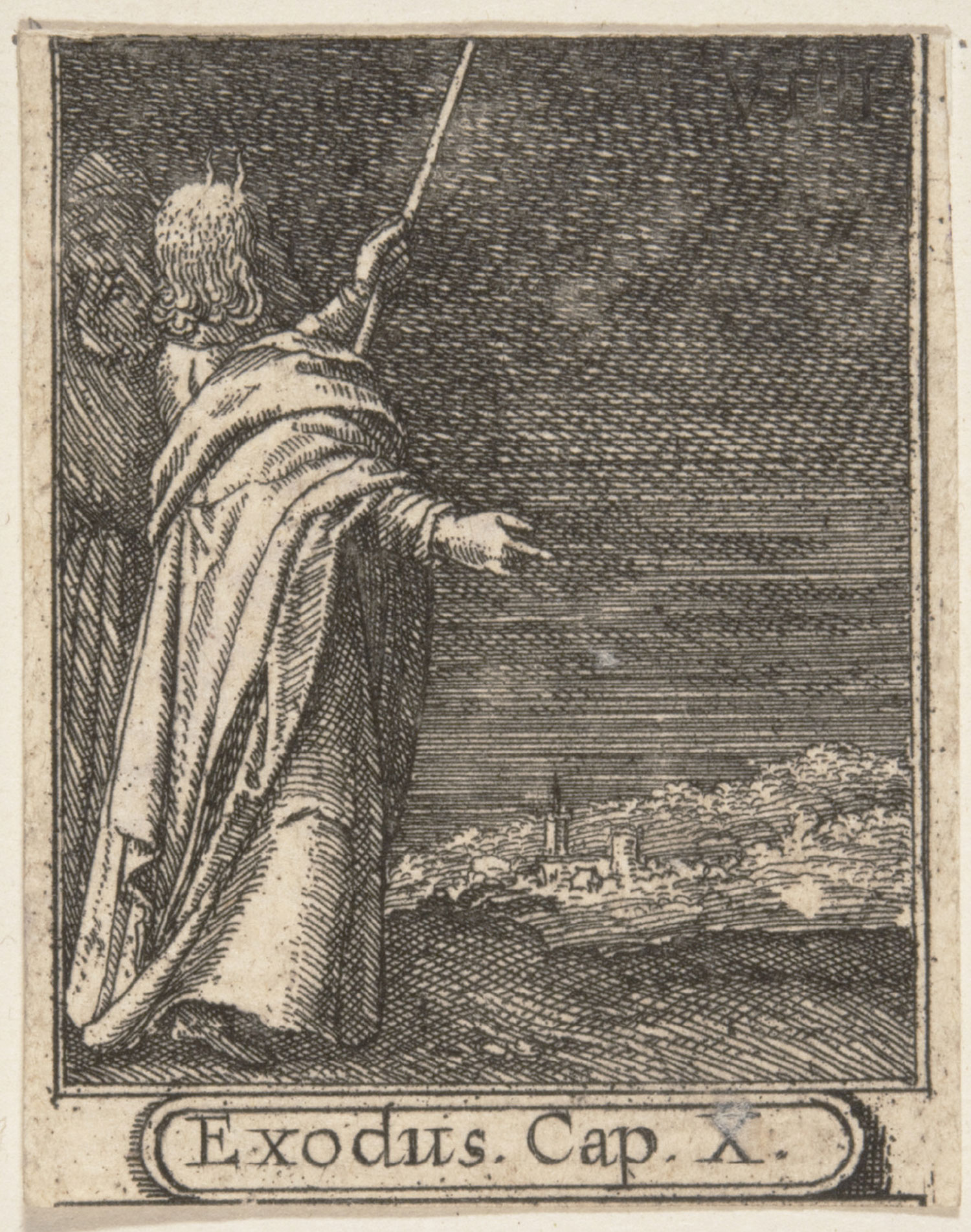 Moses summoning the plague of darkness (The Ninth Plague of Egypt)