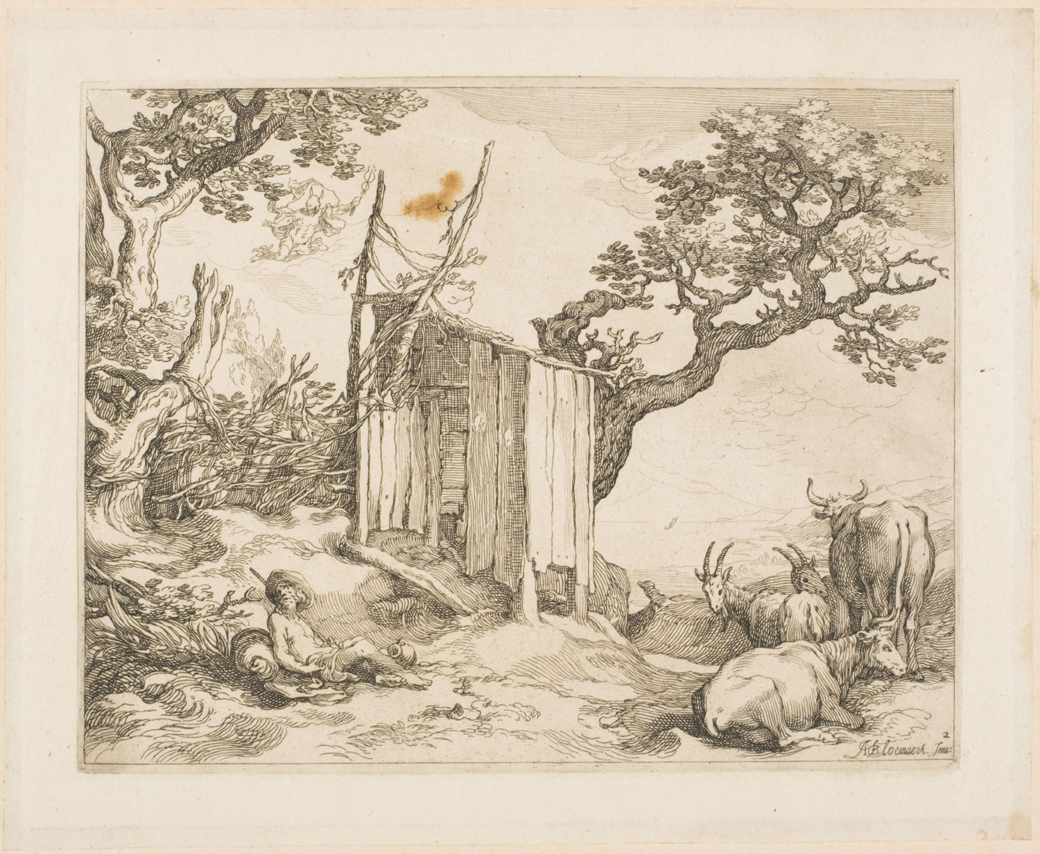 Landscape with a Shed, with Mercury Descending from the Sky to Visit Sleeping  Argus