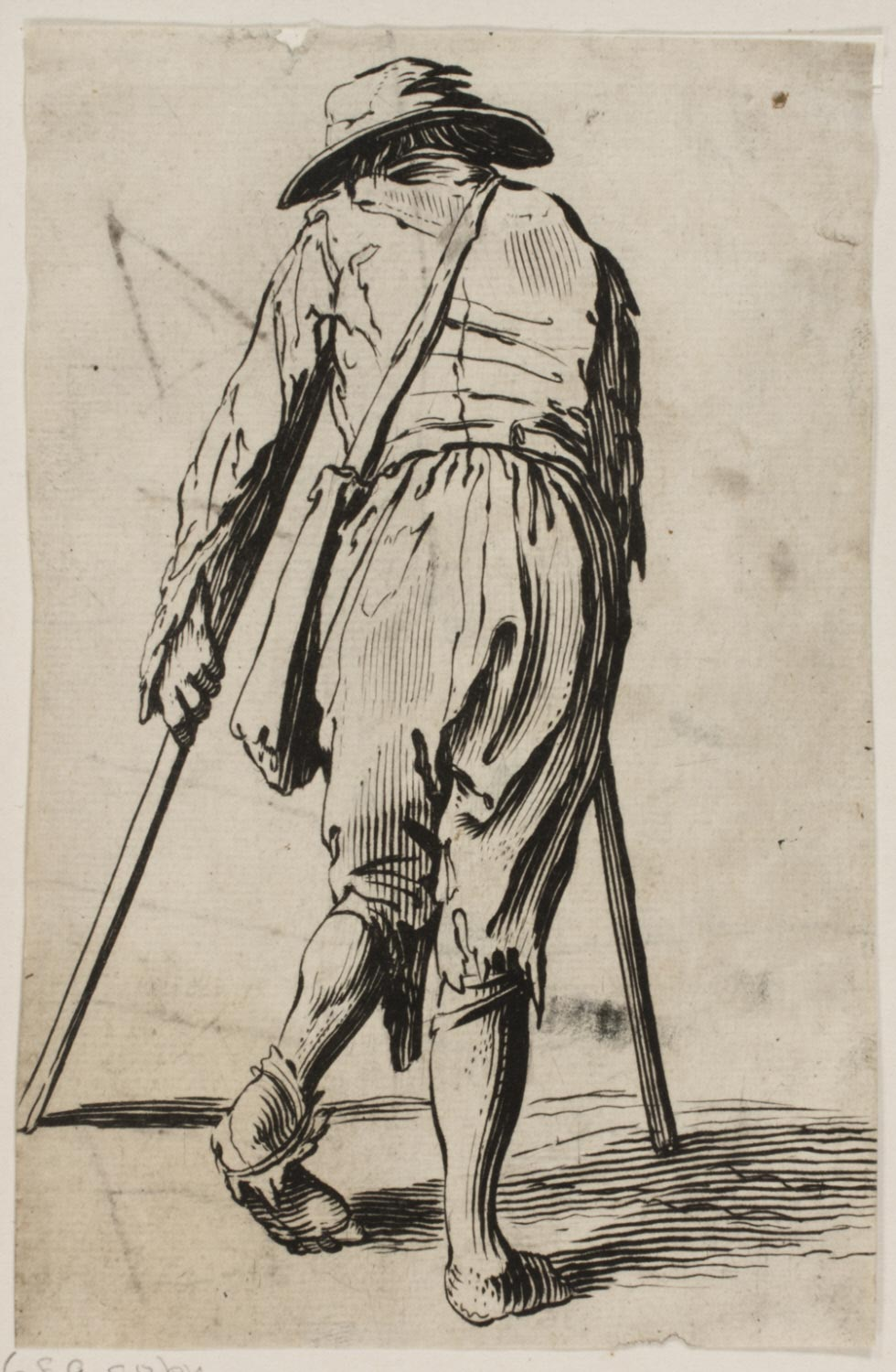 Beggar on Crutches Wearing a Hat, Back View