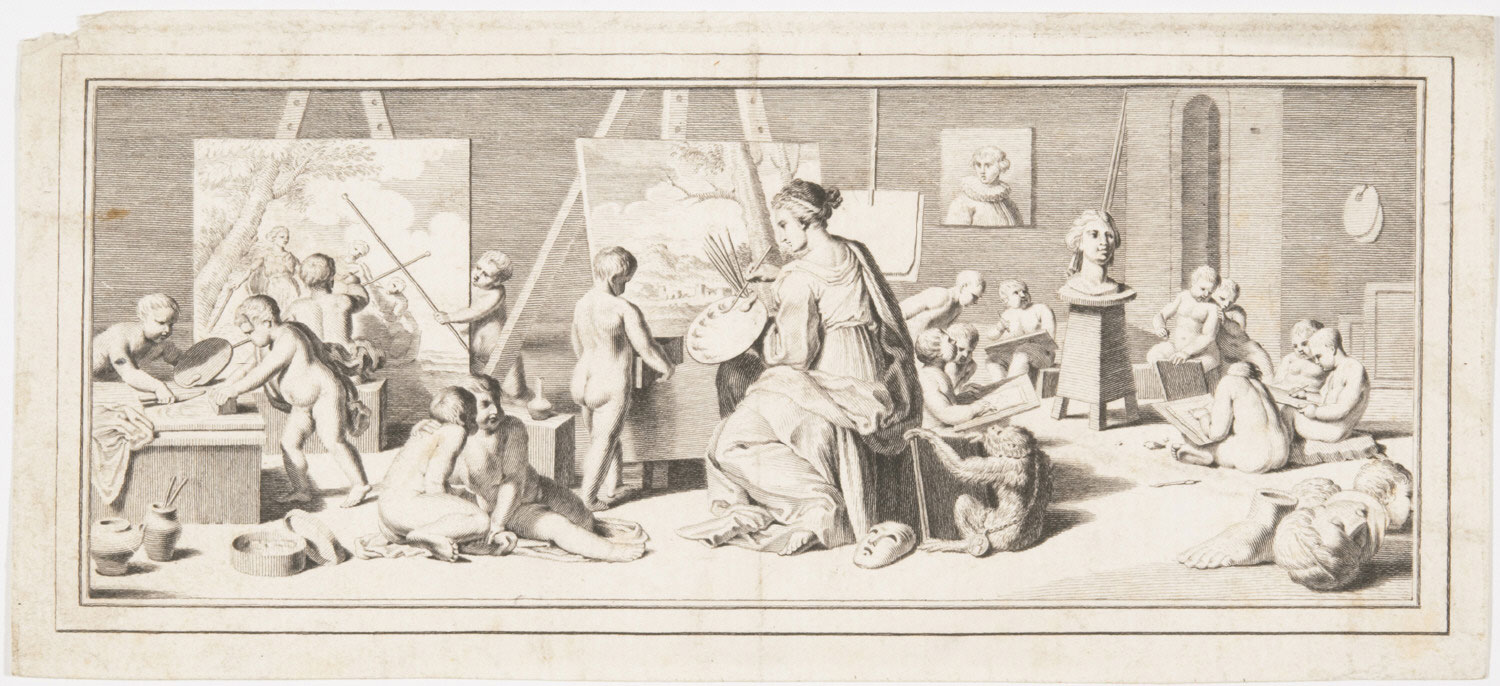 Allegory of Painting - Goddess Seated at Easel in a Studio, Surrounded by Painting Putti