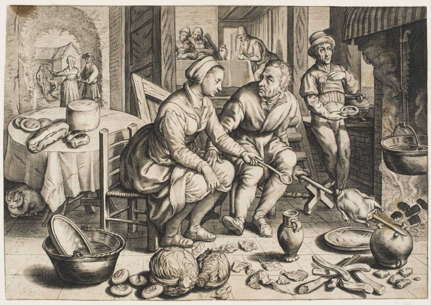 Kitchen Scene with Man and Woman Roasting a Chicken