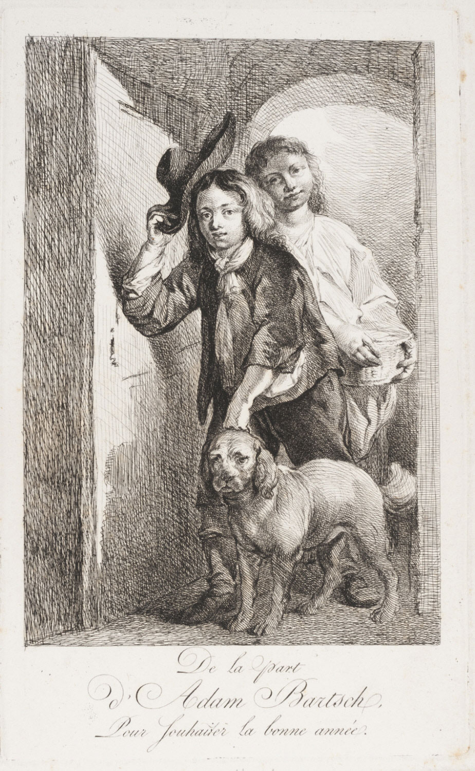 Boy with a Spaniel and Maid with a Basket, Coming through a Doorway (Bartsch's New Year's Greeting Card)