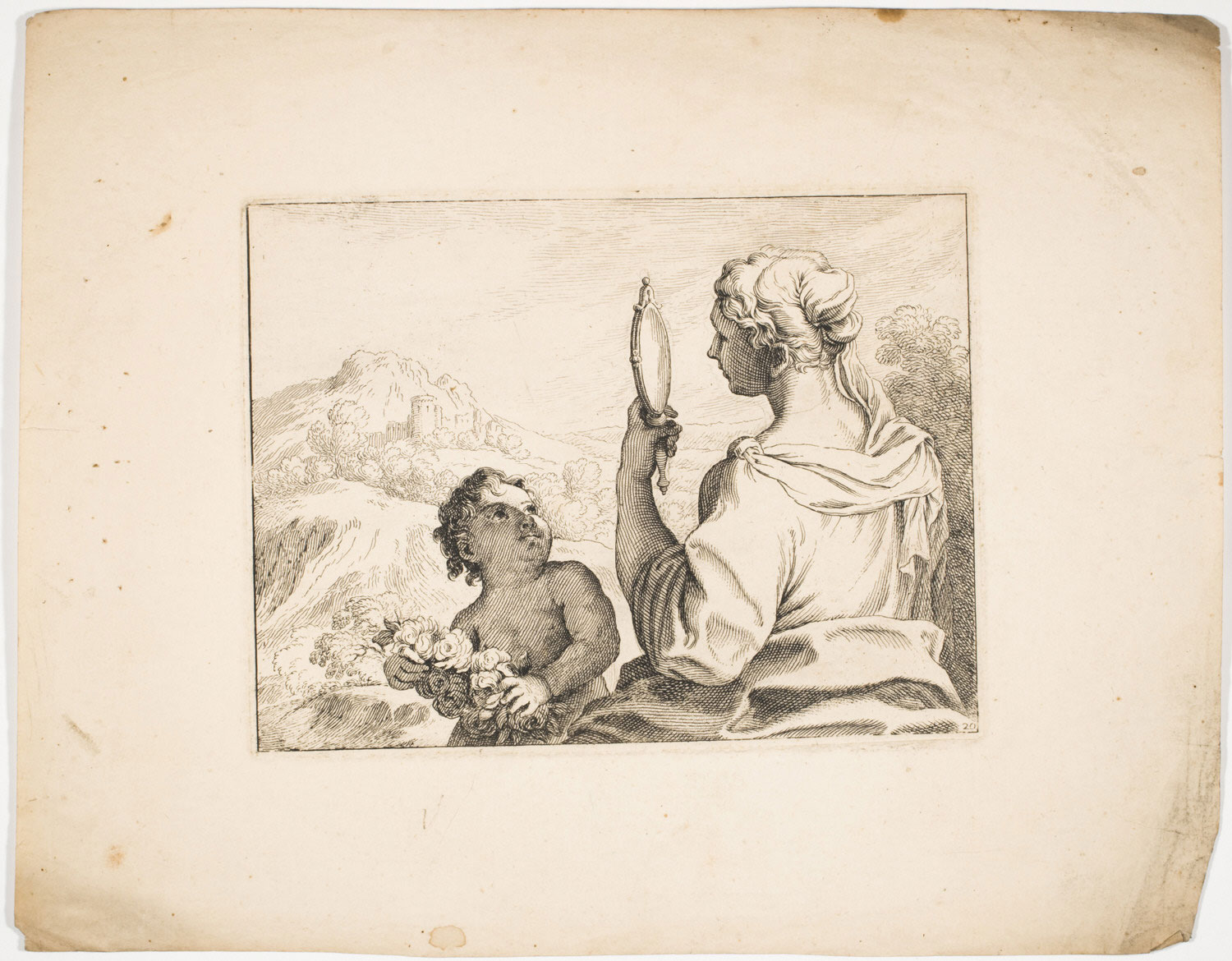 Woman Looking in a Mirror with a Putto